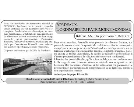 Programme Pétronille mai/juin 2009 Bacalan